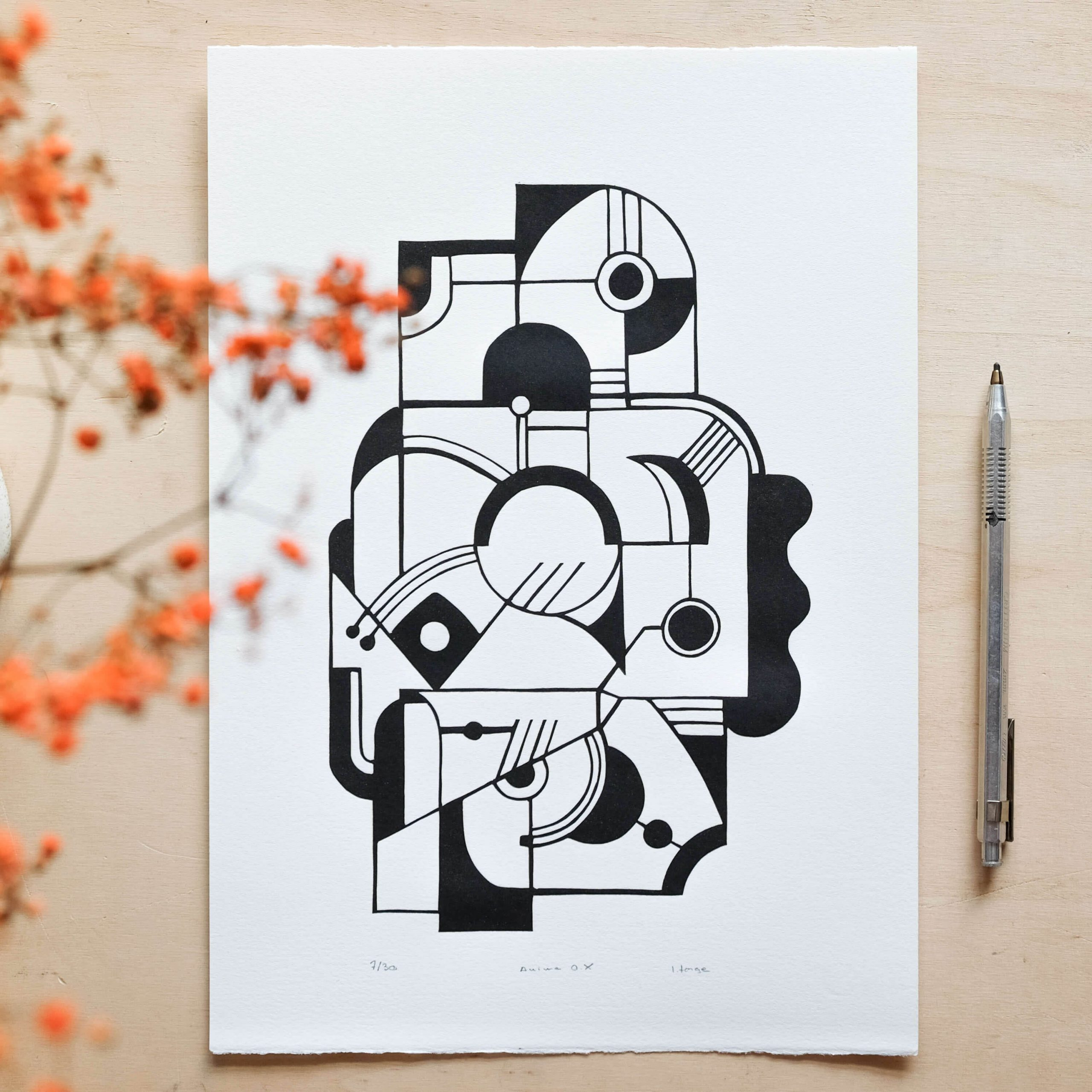 illustration animal geometrique-linogravure